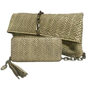 1aedeb02134b Vintage Leather Snakeskin Clutch Purse Bag Wallet